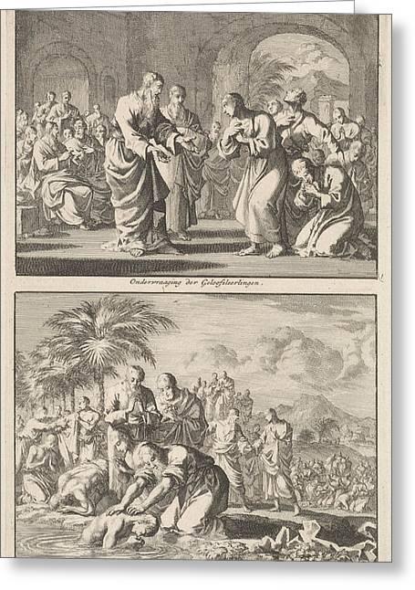 Catechesis Of Five Believers And The Baptism Of New Greeting Card by Jan Luyken And Jacobus Van Hardenberg And Jacobus Van Nieuweveen
