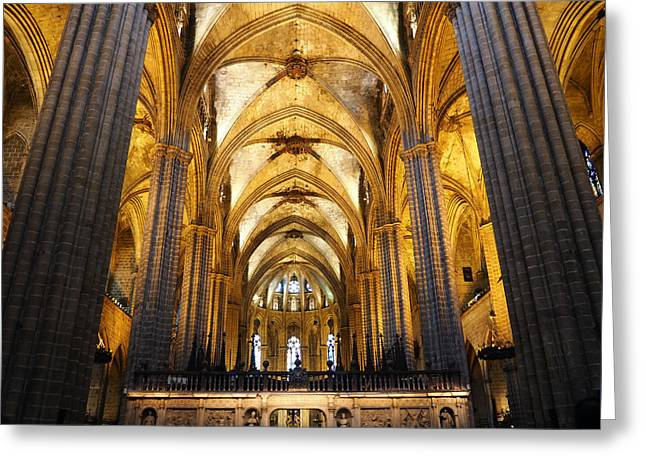Catedral De Barcelona Greeting Card by Giorgio Lumaconi