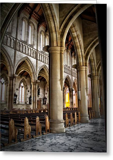Cathederal Interior Greeting Card by John Monteath