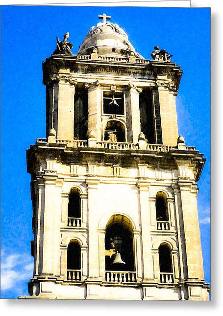 Cathedral Bell Tower - Mexico City Architecture Greeting Card