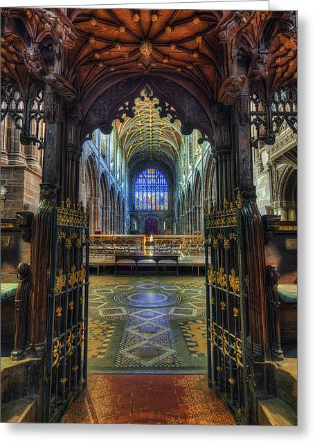 Cathedral Choir Gates Greeting Card by Ian Mitchell