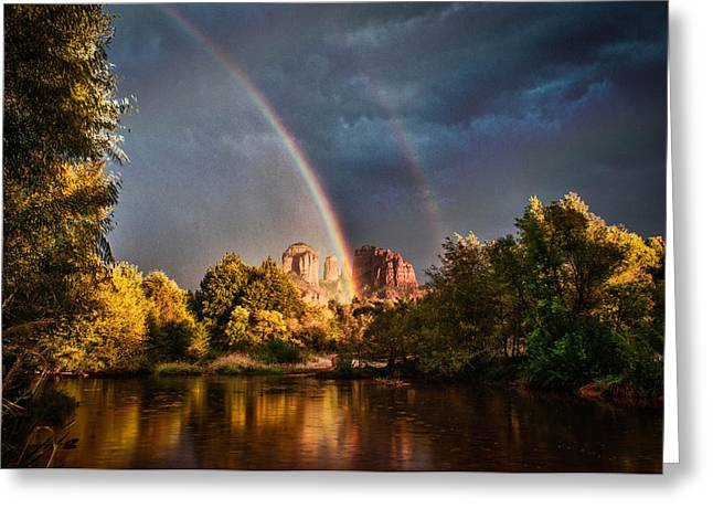 Cathedral Crossing Double Rainbow Greeting Card