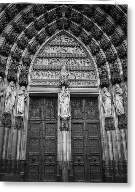 Cathedral Doors West Entrance B W Greeting Card by Teresa Mucha