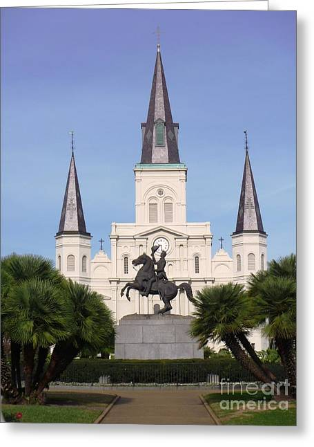 Greeting Card featuring the photograph Cathedral In Jackson Square by Alys Caviness-Gober