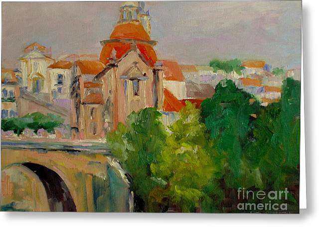 Cathedral In Portugal Greeting Card by Virginia Dauth