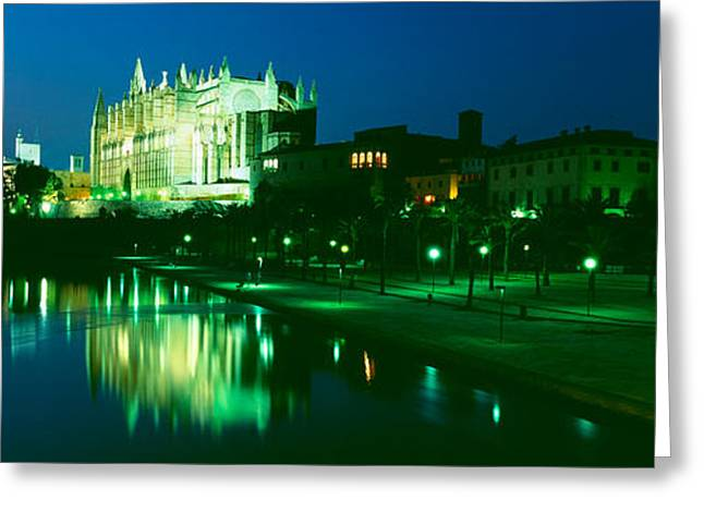 Cathedral Lit Up At Night, Palma Greeting Card by Panoramic Images