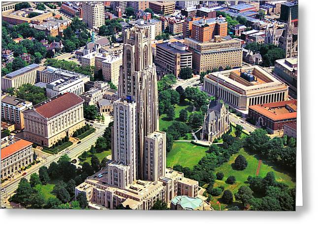 Cathedral Of Learning Aerial Greeting Card by Pittsburgh Aerials