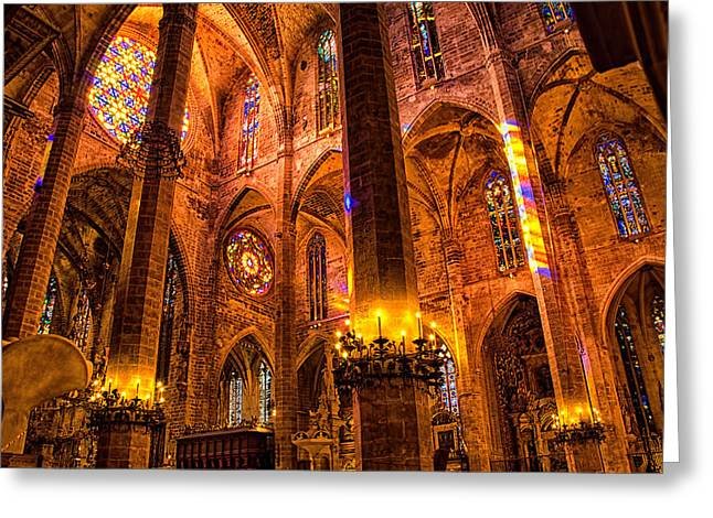 Cathedral Of Light - Majorca Spain Greeting Card by Jon Berghoff