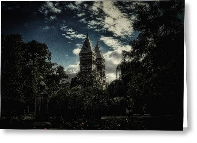 Cathedral Of Lund Greeting Card by Ramon Martinez