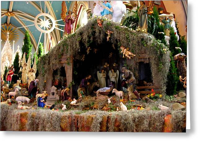 Cathedral Of St. John The Baptist Savannah - Nativity Scene Greeting Card