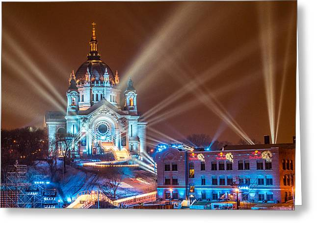 Cathedral Of St Paul Ready For Red Bull Crashed Ice Greeting Card by Paul Freidlund