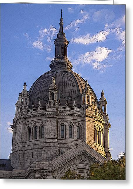 Cathedral Of St. Paul Sunset Greeting Card by T C Hoffman