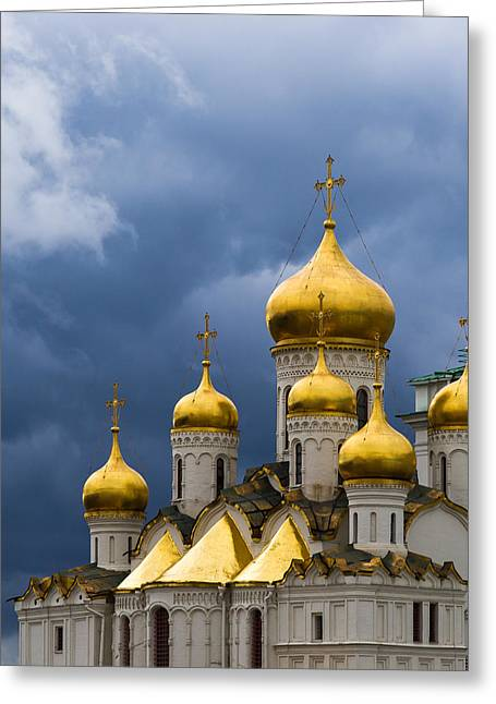 Cathedral Of The Annunciation Of Moscow Kremlin - Square Greeting Card by Alexander Senin
