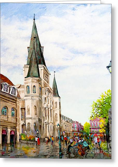 Cathedral Plaza - Jackson Square, French Quarter Greeting Card by Dianne Parks
