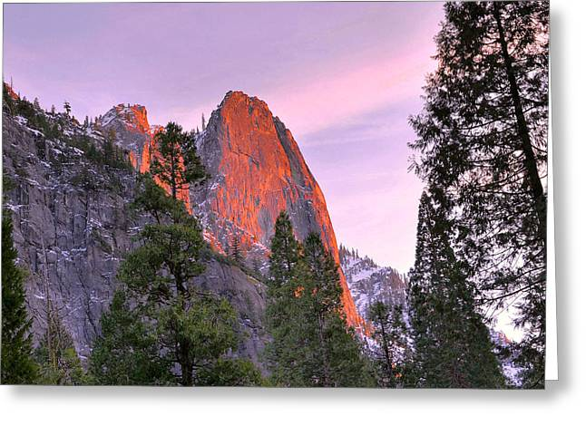 Sentinel Rock Alpenglow Greeting Card