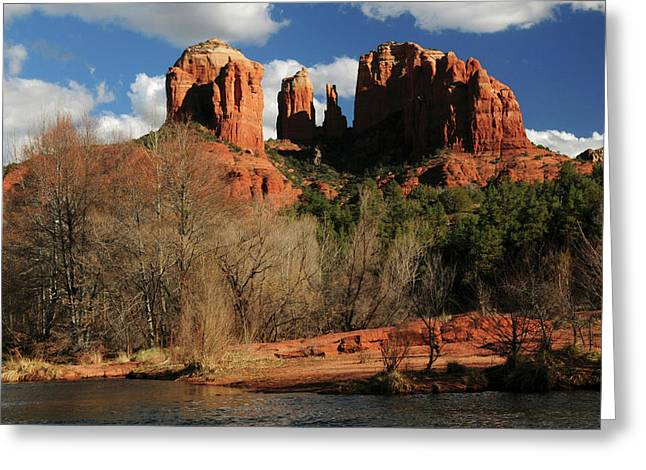 Cathedral Rock At Sunset, Red Rock Greeting Card