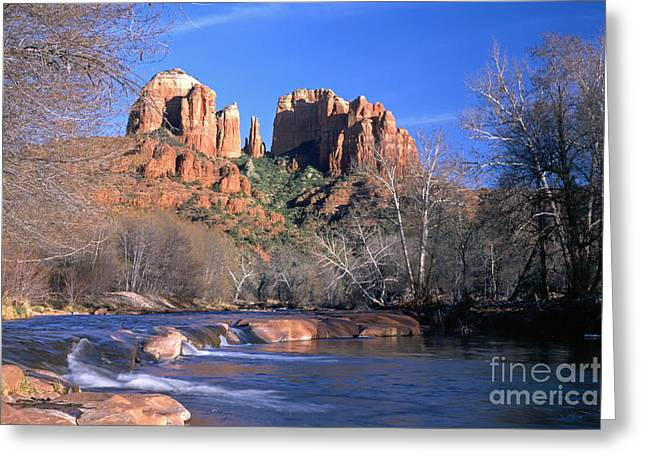 Cathedral Rock Greeting Card by King Wu