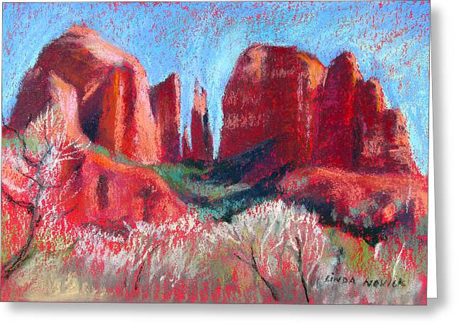 Cathedral Rock On Red Paper Greeting Card