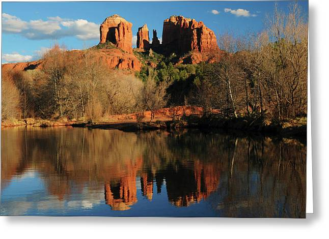 Cathedral Rock Reflections At Sunset Greeting Card by Michel Hersen