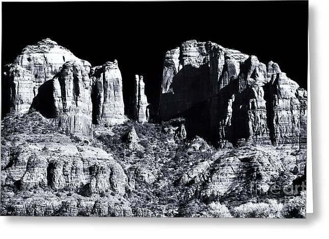 Cathedral Rock Shadows Greeting Card by John Rizzuto