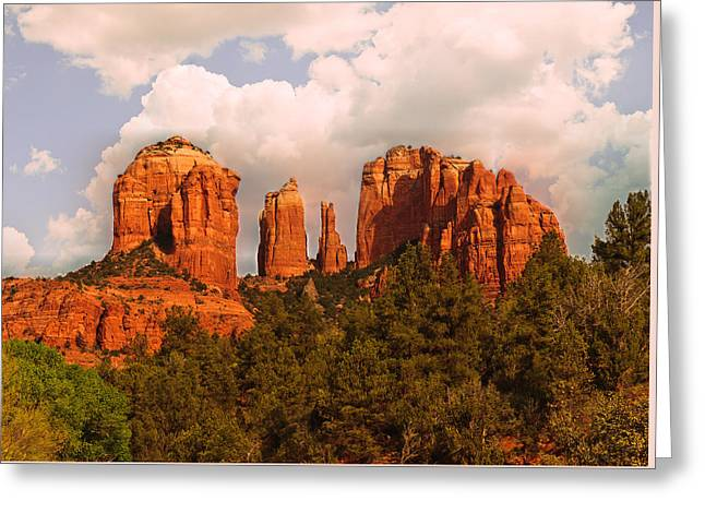 Cathedral Rock Sunset Greeting Card by Bob and Nadine Johnston