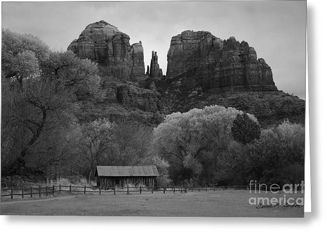 Cathedral Rock Vii Bw Greeting Card by David Gordon