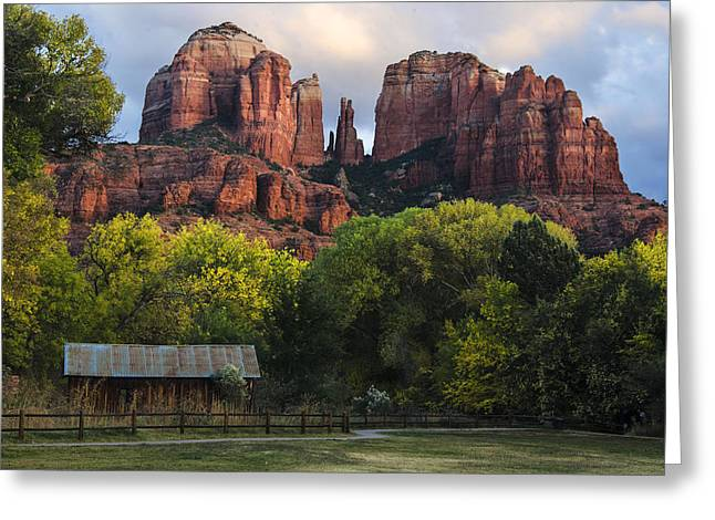 Cathedral Rock With Fall Colors And Rustic Building Greeting Card