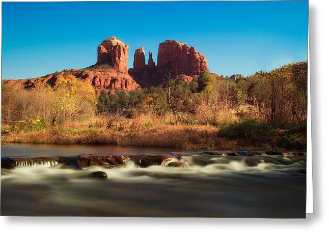 Cathedral Rock With Flowing Water Greeting Card