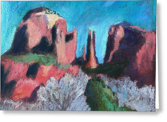 Cathedral Rock With Gray Trees Greeting Card