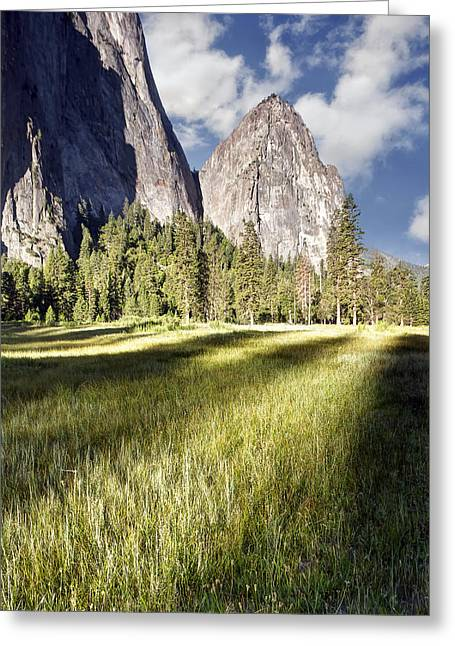 Cathedral Rocks In Yosemite Valley Greeting Card