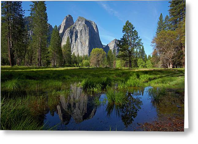 Cathedral Rocks Reflected In A Pond Greeting Card by David Wall