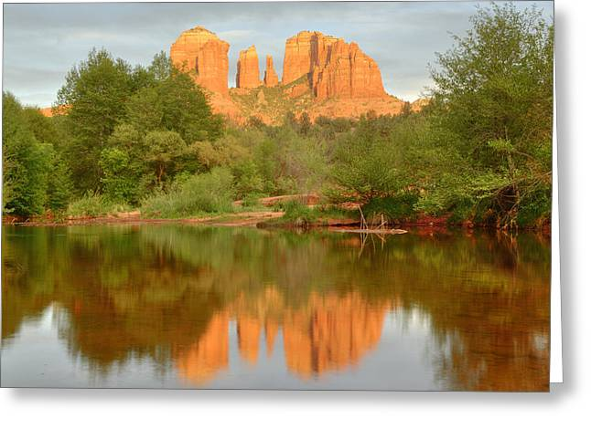 Greeting Card featuring the photograph Cathedral Rocks Reflection by Alan Vance Ley