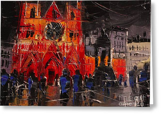 Cathedral Saint Jean-baptiste In Lyon Greeting Card
