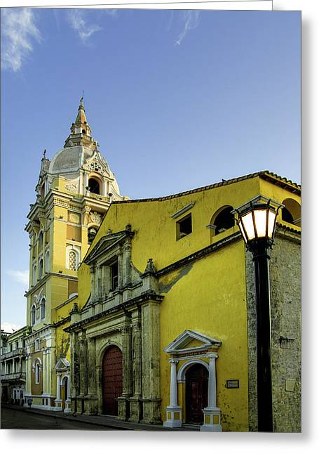 Cathedral Santa Catalina De La Greeting Card by Jerry Ginsberg