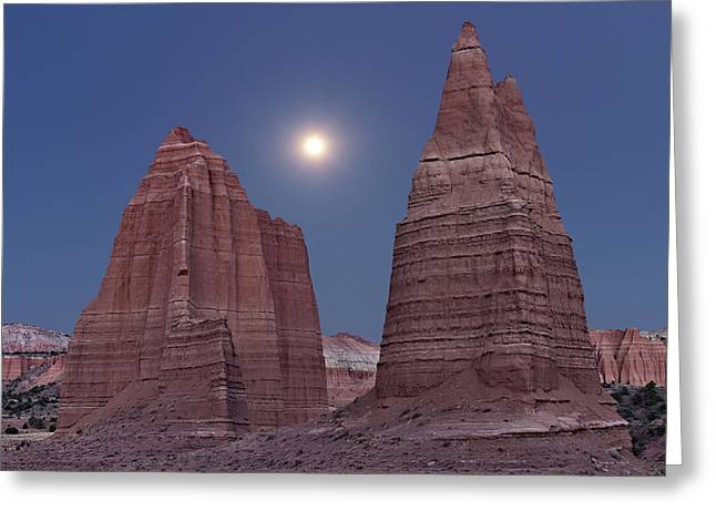 Cathedral Valley Moonrise Greeting Card by Leland D Howard