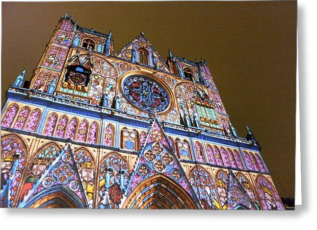 Cathedrale Saint-jean Illuminee Greeting Card