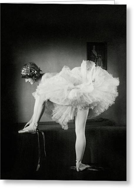 Catherine Crandell Tying Her Ballet Shoes Greeting Card by Francis Bruguiere