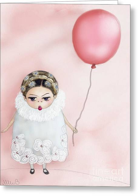 Catherine Holds On To Her Pink Balloon Greeting Card by Miss M von Baron