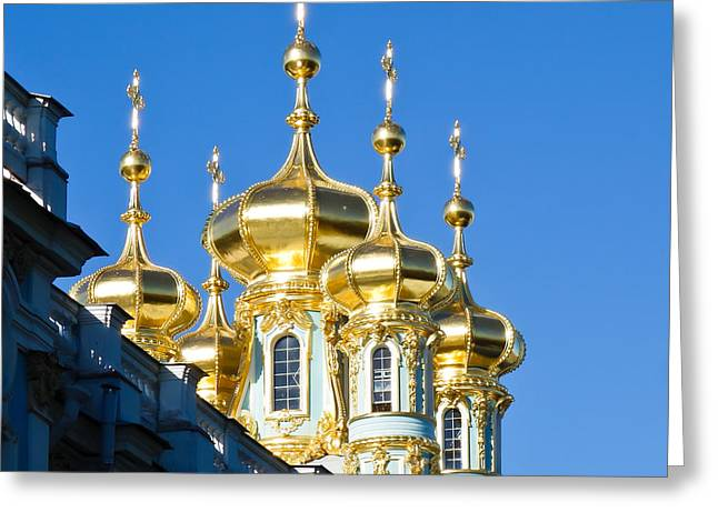 Catherine Palace Spires - Pushkin - Russia Greeting Card by Pete Edmunds