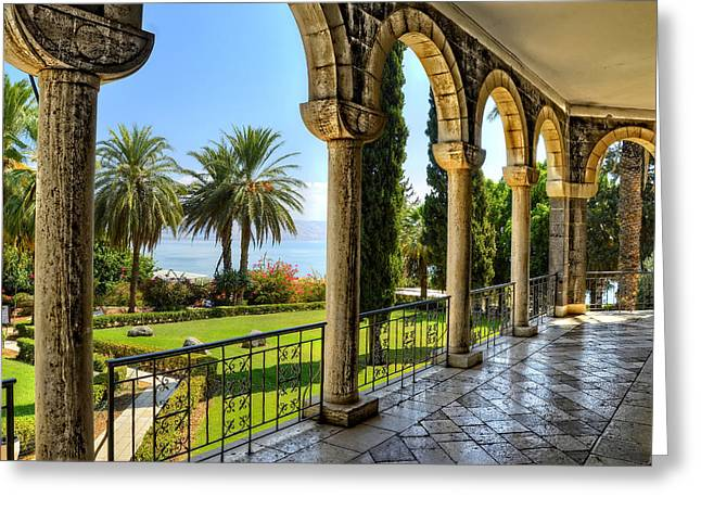 Catholic Chapel And The Sea Of Galilee Greeting Card