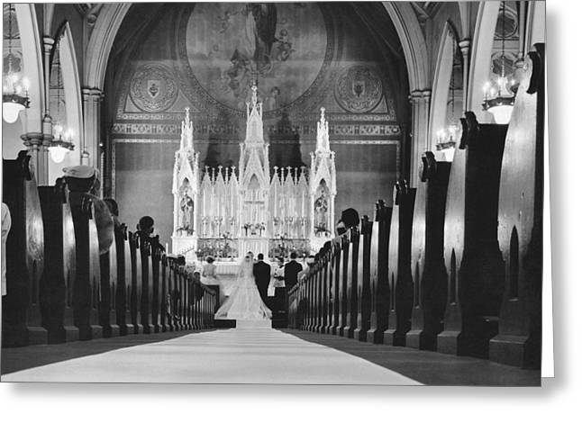 Catholic Church Wedding Greeting Card by Charles Cocaine