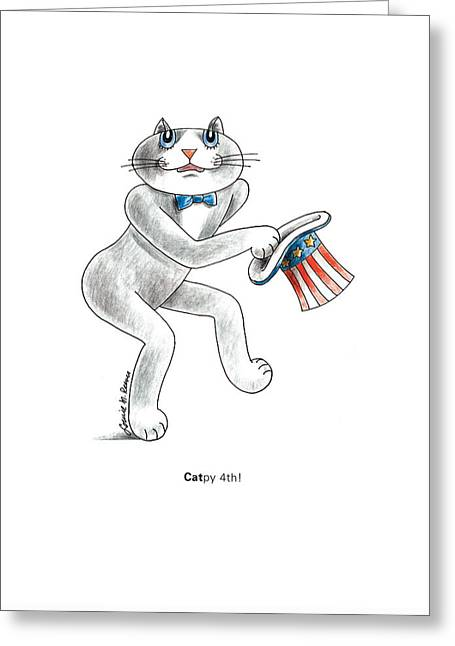 Catpy 4th Greeting Card by Louise McClain Reeves