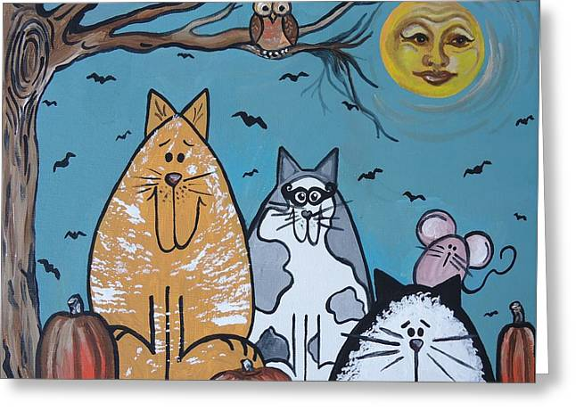 Cats And Harvest Moon Greeting Card