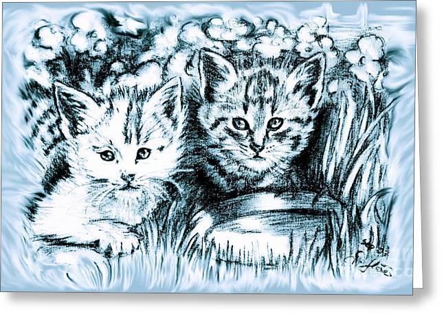 Cats Babies Greeting Card