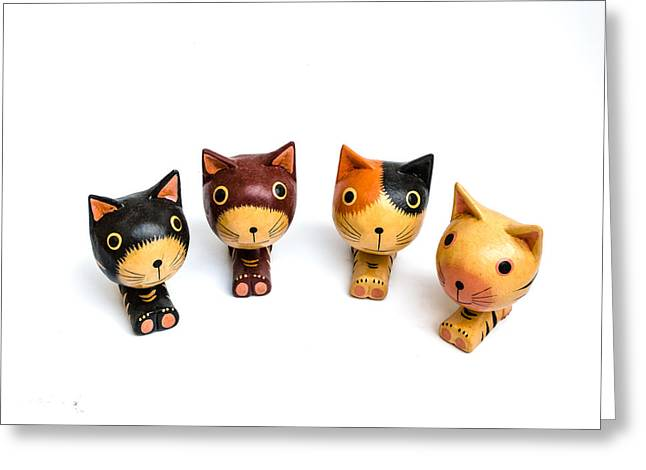 Cats Doll Greeting Card by Suntasit Fhakthap