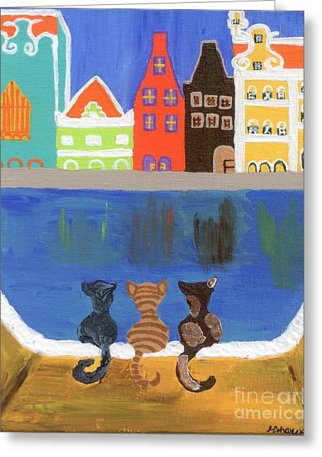Cats Enjoying The View Greeting Card by Melissa Vijay Bharwani