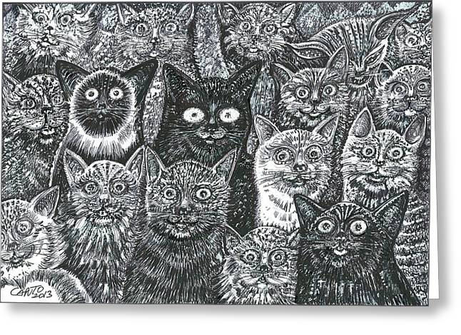 Greeting Card featuring the mixed media Cats Eyes by Giovanni Caputo