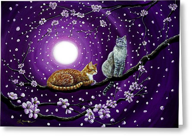 Cats In Dancing Cherry Blossoms Greeting Card by Laura Iverson