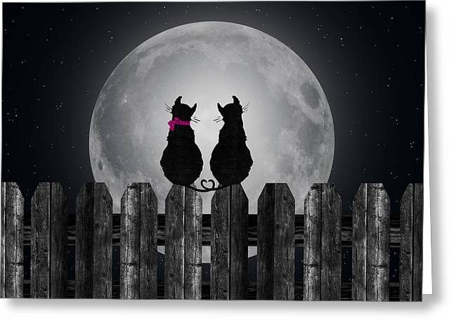 Cats In The Moonlight Greeting Card by Maria Dryfhout