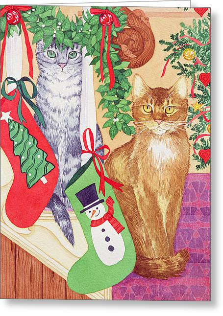 Cats On The Stairs Greeting Card by Suzanne Bailey